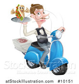 Vector Illustration of a White Male Waiter Holding a Souvlaki Kebab Sandwich on a Scooter by AtStockIllustration