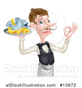Vector Illustration of a White Male Waiter or Butler with a Curling Mustache, Holding Fish and a Chips on a Tray and Gesturing Ok by AtStockIllustration