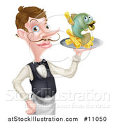 Vector Illustration of a White Male Waiter or Butler with a Curling Mustache, Holding Fish and a Chips on a Tray and Pointing by AtStockIllustration