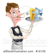 Vector Illustration of a White Male Waiter Pointing and Holding Fish and a Chips on a Tray by AtStockIllustration