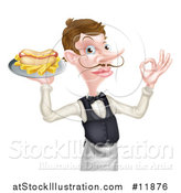 Vector Illustration of a White Male Waiter with a Curling Mustache, Holding a Hot Dog and Fries on a Platter and Gesturing Ok by AtStockIllustration
