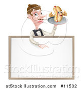 Vector Illustration of a White Male Waiter with a Curling Mustache, Holding a Hot Dog on a Platter over a Blank Menu Sign by AtStockIllustration