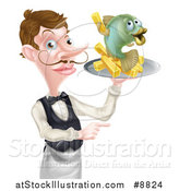 Vector Illustration of a White Male Waiter with a Curling Mustache, Holding Fish and a Chips on a Tray and Pointing by AtStockIllustration