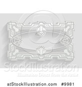 Vector Illustration of a White Ornate Vintage Art Deco Frame on Gray with Shadows by AtStockIllustration