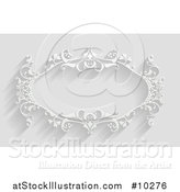 Vector Illustration of a White Ornate Vintage Floral Frame, on Gray with Shadows by AtStockIllustration