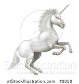 Vector Illustration of a White Rearing Unicorn by AtStockIllustration