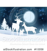 Vector Illustration of a White Silhouetted Deer Family Under a Full Moon in a Winter Landscape at Night by AtStockIllustration