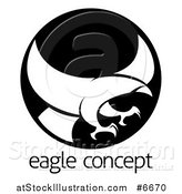 Vector Illustration of a White Silhouetted Eagle or Hawk Reading to Grab Prey in a Black Circle over Sample Text by AtStockIllustration