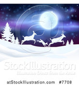 Vector Illustration of a White Silhouetted Family of Deer Leaping over Snowy Hills and Evergreens Under a Full Moon by AtStockIllustration