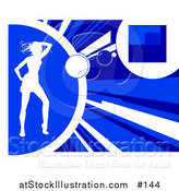 Vector Illustration of a White Silhouetted Woman Dancing on a Blue Background by AtStockIllustration