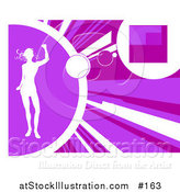 Vector Illustration of a White Silhouetted Woman Dancing on a Purple Background with Rays by AtStockIllustration