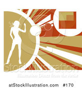 Vector Illustration of a White Silhouetted Woman Dancing on a Yellow, Orange and Brown Background. Background by AtStockIllustration