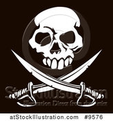 Vector Illustration of a White Skull Above Crossed Swords over a Black Background by AtStockIllustration