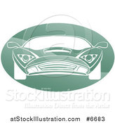 Vector Illustration of a White Sports Car in a Shiny Green Oval by AtStockIllustration