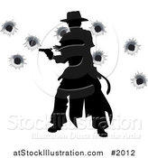 Vector Illustration of a Wild West Gunslinger Firing His Gun, with Bullet Holes by AtStockIllustration