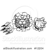 Vector Illustration of a Wildcat Mascot Shredding Through a Wall with a Cricket Ball, Black and White by AtStockIllustration