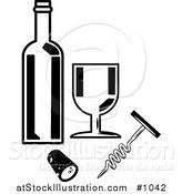 Vector Illustration of a Wine Bottle, Goblet, Cork and Cork Screw by AtStockIllustration