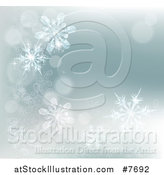 Vector Illustration of a Winter Background with Bokeh Flares and Snowflakes by AtStockIllustration