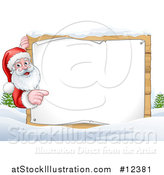 Vector Illustration of a Winter Landscape with Santa Pointing Around a Blank Sign by AtStockIllustration