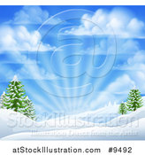 Vector Illustration of a Winter Morning Sunrise with Rays and a Blue Cloudy Sky over Snow Covered Hills and Evergreen Trees by AtStockIllustration