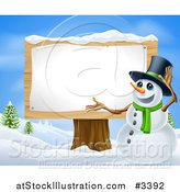 Vector Illustration of a Winter Snowman Presenting a Wooden Sign by AtStockIllustration