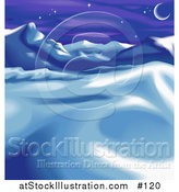 Vector Illustration of a Wintry Landscape with Snow, Mountains and the Moon by AtStockIllustration