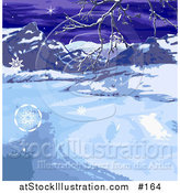 Vector Illustration of a Wintry Landscape with Snowflakes, Mountains and Bare Tree Branches by AtStockIllustration