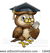 Vector Illustration of a Wise Cartoon Owl Wearing Glasses and Graduation Cap While Carrying a Diploma by AtStockIllustration