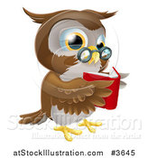 Vector Illustration of a Wise Owl Reading a Book by AtStockIllustration