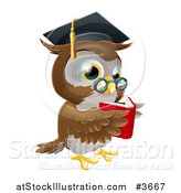 Vector Illustration of a Wise Owl Wearing a Graduation Cap and Reading a Book by AtStockIllustration