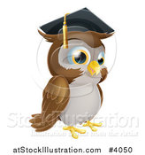 Vector Illustration of a Wise Professor Owl Wearing a Graduation Cap by AtStockIllustration