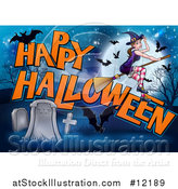 Vector Illustration of a Witch and Bats Flying over a Full Moon, Happy Halloween Greeting and Cemetery by AtStockIllustration