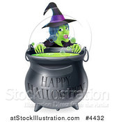Vector Illustration of a Witch Behind a Boiling Happy Halloween Cauldron by AtStockIllustration