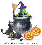 Vector Illustration of a Witch Behind a Boiling Happy Halloween Cauldron with a Broomstick Black Cats and Jackolanterns by AtStockIllustration