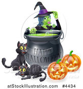 Vector Illustration of a Witch Behind a Boiling Happy Halloween Cauldron with Black Cats and Jackolanterns by AtStockIllustration