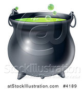 Vector Illustration of a Witch Cauldron with Bubbly Green Brew by AtStockIllustration