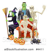 Vector Illustration of a Witch Frankenstein and Skeleton Around a Seated Mummy with a Black Cat and Halloween Pumpkins by AtStockIllustration