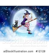 Vector Illustration of a Witch Holding a Magic Wand and Cat Flying on a Broomstick over a Full Moon by AtStockIllustration