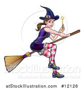 Vector Illustration of a Witch Holding a Magic Wand and Flying on a Broomstick by AtStockIllustration
