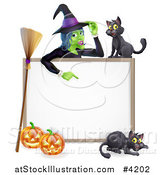 Vector Illustration of a Witch Pointing down to a White Board Sign with Black Cats Halloween Pumpkins and a Broomstick by AtStockIllustration