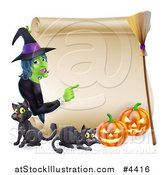 Vector Illustration of a Witch Pointing to a Scroll Sign with Black Cats Halloween Pumpkins and a Broomstick by AtStockIllustration