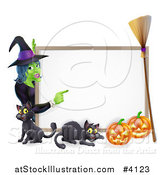 Vector Illustration of a Witch Pointing to a White Board Sign over a Black Cat and Halloween Pumpkins with a Broom by AtStockIllustration