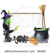Vector Illustration of a Witch Pointing to a White Board Sign with Black Cats Halloween Pumpkins a Cauldron and a Broomstick by AtStockIllustration
