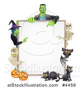 Vector Illustration of a Witch Skeleton Mummy Bat and Frankenstein Pointing to a White Board Sign over Pumpkins and Black Cats by AtStockIllustration