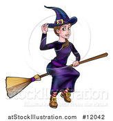 Vector Illustration of a Witch Tipping Her Hat and Flying on a Broomstick by AtStockIllustration