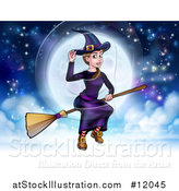 Vector Illustration of a Witch Tipping Her Hat and Flying on a Broomstick over a Full Moon by AtStockIllustration