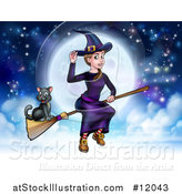 Vector Illustration of a Witch Tipping Her Hat and Flying on a Broomstick over a Full Moon with Her Cat by AtStockIllustration