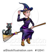 Vector Illustration of a Witch Tipping Her Hat and Flying on a Broomstick with Her Cat by AtStockIllustration