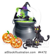 Vector Illustration of a Witch Touching Her Hat Behind a Boiling Halloween Cauldron Black Cats and Jackolanterns by AtStockIllustration