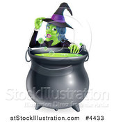 Vector Illustration of a Witch Touching Her Hat from Behind a Boiling Halloween Cauldron by AtStockIllustration